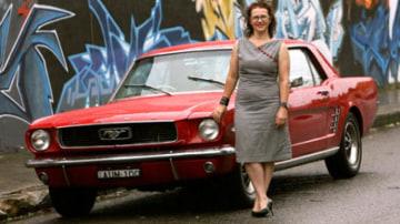 Red alert ... Heather Goodman's Mustang draws plenty of looks.