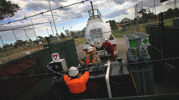 Mobil skimming station staff remove petrol from Newport's ground water. Picture: Justin McManus.