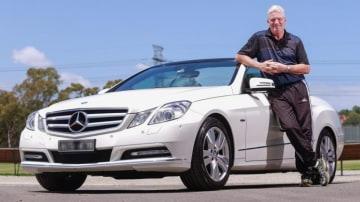 Dean Jones and his Mercedes-Benz E250 convertible.