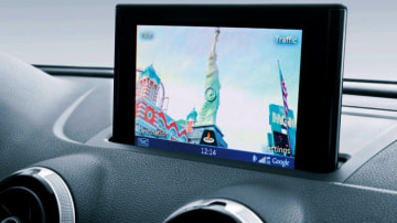 Audi's MMI display screen has satellite navigation using Google Earth images and Street View (shown).
