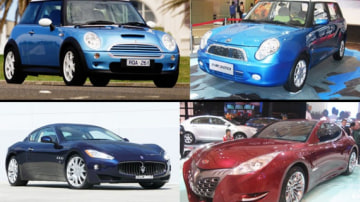 Top, left to right: Mini v Lifan 320. Bottom, left to right: Maserati v Geely GT