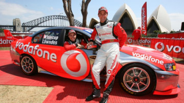 Craig Lowndes and Jamie Whincup and their new-look Falcon. Picture: Mark Horsburgh