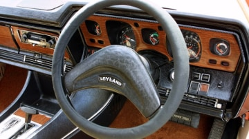 The Leyland P76 steering wheel and dash.