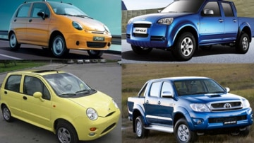 Left, top to bottom: Daewoo Matiz v Chery QQ  Right, top to bottom: Great Wall Wingle v Toyota Hilux