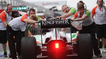 Force India pit crew during second practice.
