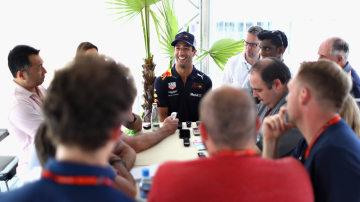 Daniel Ricciardo chats with the media at the British Grand Prix.