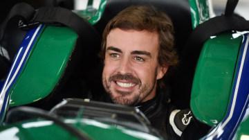 Fernando Alonso testing an Andretti Autosport Indycar.