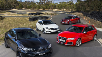 We test four of the hottest performance cars under $100k: the BMW M2, Audi RS3 Sportback, Mercedes-AMG A45 and HSV ClubSport.