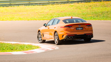 Drive Best Medium To Large Car 2021 finalist Kia Stinger GT rear on road circuit