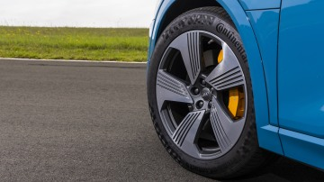 Drive Car of the Year Best Electric Vehicle 2021 finalist Audi e-Tron rear front left wheel close-up