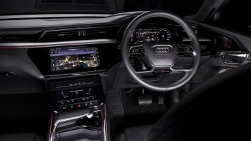 Drive Car of the Year Best Electric Vehicle 2021 finalist Audi e-Tron interior infotainment system, dashboard and steering