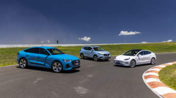 Drive Car of the Year Best Electric Vehicle 2021 best electric vehicle finalists (L-R) Audi e-Tron, MG ZS EV and Tesla Model 3