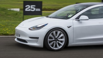 Drive Car of the Year Best Electric Vehicle 2021 finalist Tesla Model 3 left side view close-up