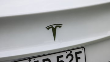 Drive Car of the Year Best Electric Vehicle 2021 finalist Tesla Model 3 rear badge close-up