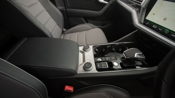 Drive Car of the Year Best Large Luxury SUV 2021 finalist Volkswagen Touareg gear shift viewed from driver side window