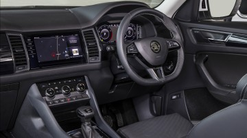 Drive Car of the Year Best Large SUV 2021 finalist Skoda Kodiaq infotainment system and steering wheel