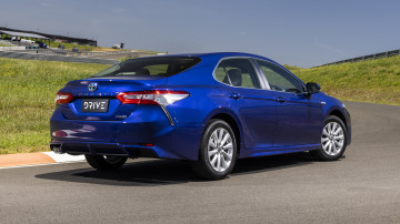 Drive Car of the Year Best Medium To Large Car 2021 finalist Toyota Camry Hybrid rear exterior view