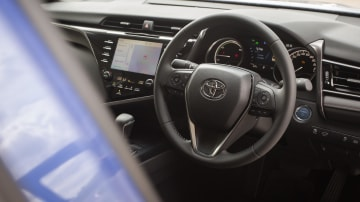 Drive Car of the Year Best Medium To Large Car 2021 finalist Toyota Camry Hybrid interior steering wheel