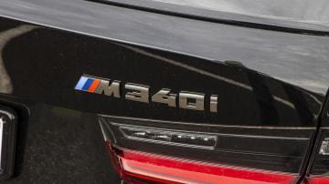 Drive Car of the Year Best Medium Luxury Car 2021 finalist BMW 3 Series label close up