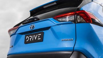 Drive Car of the Year Best Medium SUV 2021 finalist Toyota Rav 4 rear exterior close-up view
