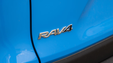 Drive Car of the Year Best Medium SUV 2021 finalist Toyota Rav 4 rear label close-up