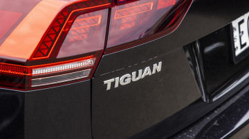 Drive Car of the Year Best Medium SUV 2021 finalist Volkswagen Tiguan rear label and left tail light