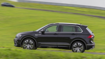 Drive Car of the Year Best Medium SUV 2021 finalist Volkswagen Tiguan left side view as driven on road