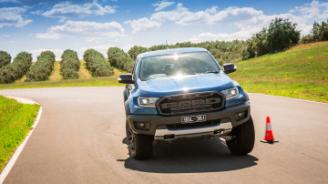 Drive Car of the Year Best Off-Road SUV 2021 finalist Ford Ranger Raptor driven on road circuit as viewed front-on