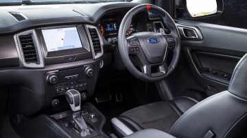 Drive Car of the Year Best Off-Road SUV 2021 finalist Ford Ranger Raptor driver seat infotainment system and steering wheel