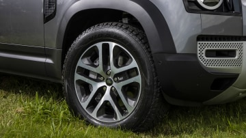 Drive Car of the Year Best Off-Road SUV 2021 finalist Land Rover Defender front right wheel close-up
