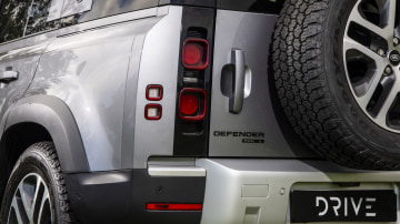 Drive Car of the Year Best Off-Road SUV 2021 finalist Land Rover Defender close-up of rear left tail light and label