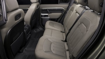 Drive Car of the Year Best Off-Road SUV 2021 finalist Land Rover Defender rear interior seating viewed from left window