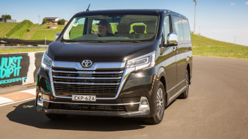 Drive Car of the Year Best People Mover 2021 finalist Toyota Granvia front view on road circuit