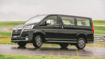 Drive Car of the Year Best People Mover 2021 finalist Toyota Granvia left side view on road circuit