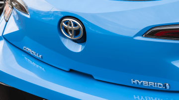 Drive Car of the Year Best Small Car of 2021 finalist Toyota Corolla Hybrid Hatch rear badge close-up