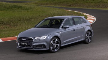 Drive Car of the Year Best Small Luxury Car 2021 finalist Audi A3 left side exterior on road