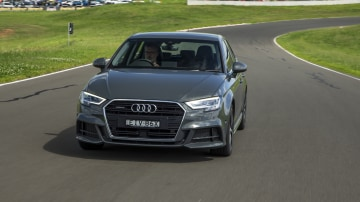 Drive Car of the Year Best Small Luxury Car 2021 finalist Audi A3 exterior front view on road