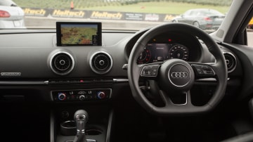 Drive Car of the Year Best Small Luxury Car 2021 finalist Audi A3 infotainment system and steering wheel