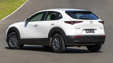 Drive Car of the Year Best Small SUV 2021 finalist Mazda CX-30 rear exterior view