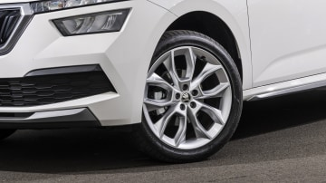 Drive Car of the Year Best Small SUV 2021 finalist Skoda Kamiq front left wheel close-up