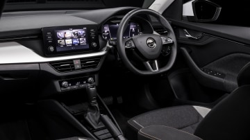 Drive Car of the Year Best Small SUV 2021 finalist Skoda Kamiq front interior infotainment system and steering wheel