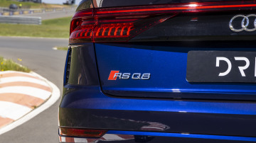 Drive Car of the Year Sports Performance SUV 2021 finalist Audi RSQ8 rear exterior view of left tail light and label