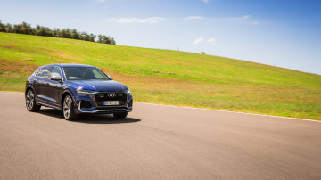 Drive Car of the Year Sports Performance SUV 2021 finalist Audi RSQ8 driven on road wide shot