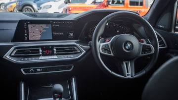 Drive Car of the Year Sports Performance SUV 2021 finalist BMW X5 interior view of infotainment system and steering wheel