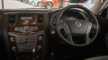 Drive Car of the Year Best Upper Large SUV 2021 finalist Nissan Patrol infotainment system and steering wheel