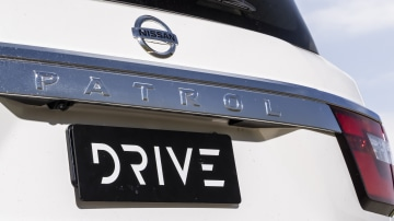 Drive Car of the Year Best Upper Large SUV 2021 finalist Nissan Patrol boot exterior and badge close-up