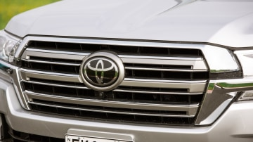 Drive Car of the Year Best Upper Large SUV 2021 finalist Toyota Landcruiser grille and badge close-up