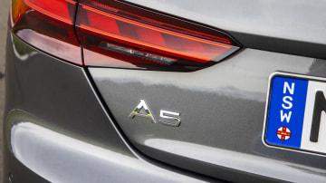 Drive Car of the Year Best Medium Luxury Car 2021 finalist Audi A5 rear label close-up
