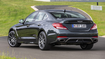 Drive Car of the Year Best Medium Luxury Car 2021 finalist Genesis G70 exterior rear view
