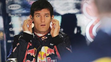 Mark Webber during the first practice session.